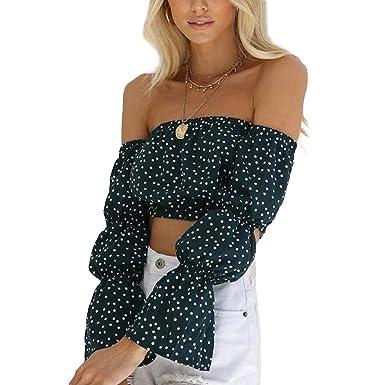 QHDZ De moda Blusa causal de la camisa causal del lunar de la manga larga atractiva