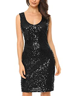 4b12fb1f7f53 Mixfeer Women's V Neck Long Sleeve Sequin Bodycon Cocktail Party Club  Evening Mini Dress