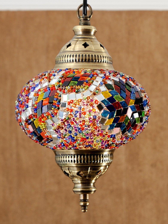 (Height: 7.9 in) Mosaic Chandelier Set 1 Single Globe, Handmade Authentic Tiffany Lighting Moroccan Lamp Glass Stunning Bedside Night Lights Brass&Glass Ottoman Turkish Style