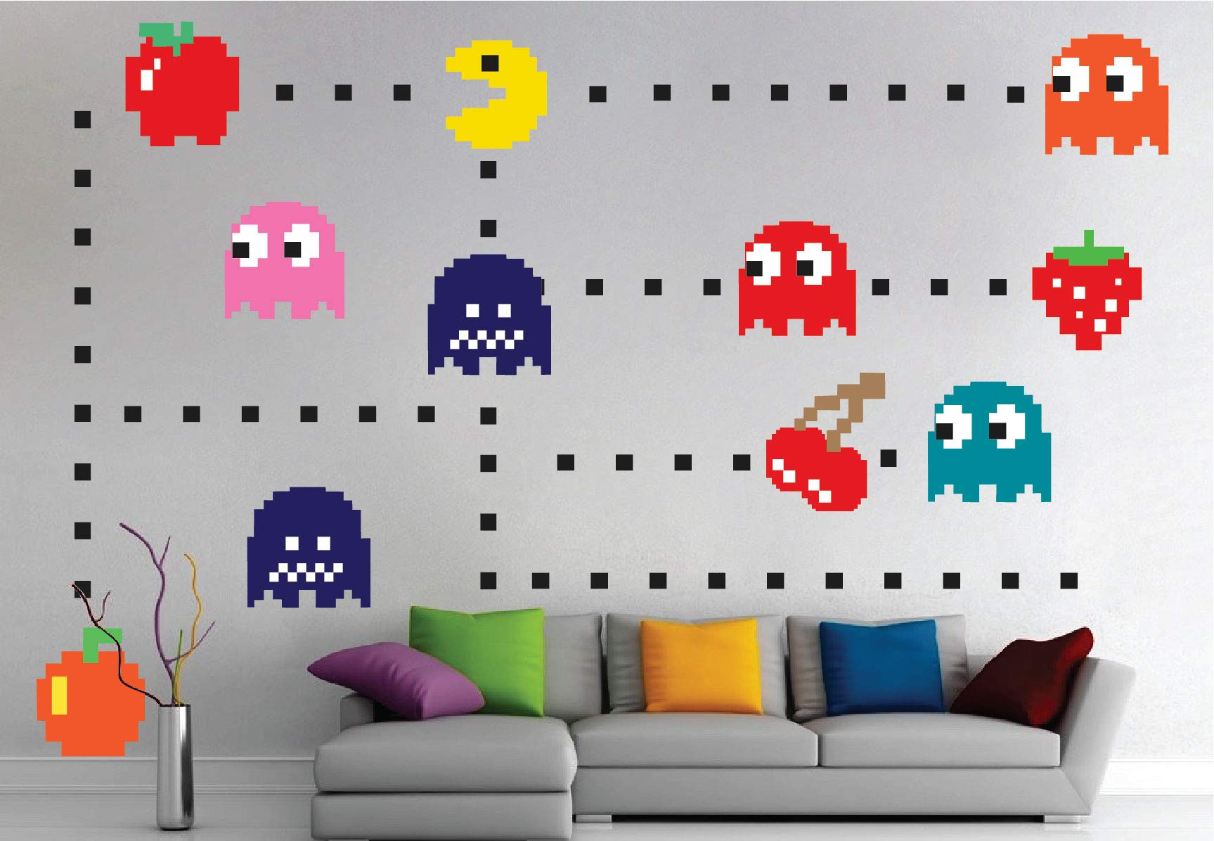 Pac Man Sticker for The Bedroom - Pac-Man Wall Decal Atari Bedroom Design Game Room Pac-Man Wall Mural, n52 by Prime Decals (Image #4)