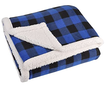 387266b34e Image Unavailable. Image not available for. Color  Blue Buffalo Plaid  Sherpa Throw ...