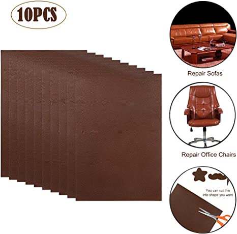 10 PCS Leather Repair Patch,4x8 inch Leather Adhesive Kit for Couch Furniture So