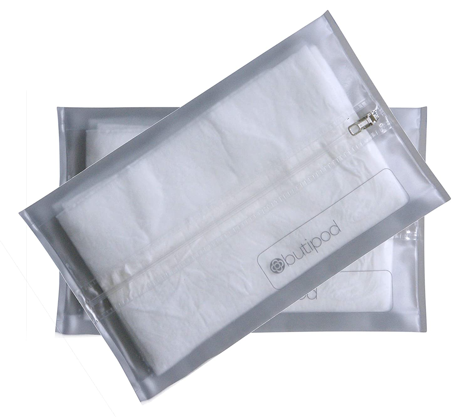 Buti-pods Zippered Refillable Wet Wipes Case, 2 Pack, Clear