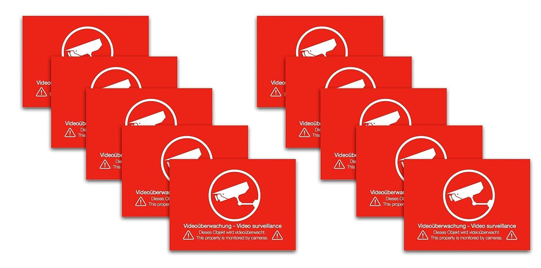12 x Etiqueta Pegatinas Video Vigilancia Vídeo mediante wacht vídeo cámara vigilancia supervisión Cartel advertencia Cartel Cámara Supervisión autoadhesivo: ...