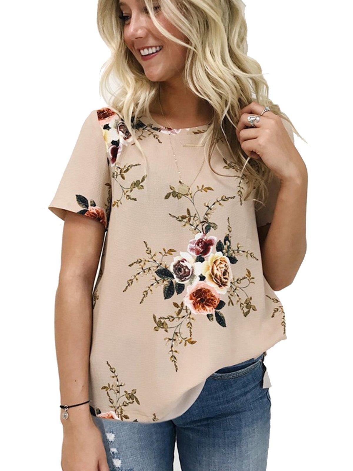 VYNCS Women's O Neck Short Sleeve Sexy Tops Floral Print Chiffon T-Shirt for Summer (Khaki, Large)