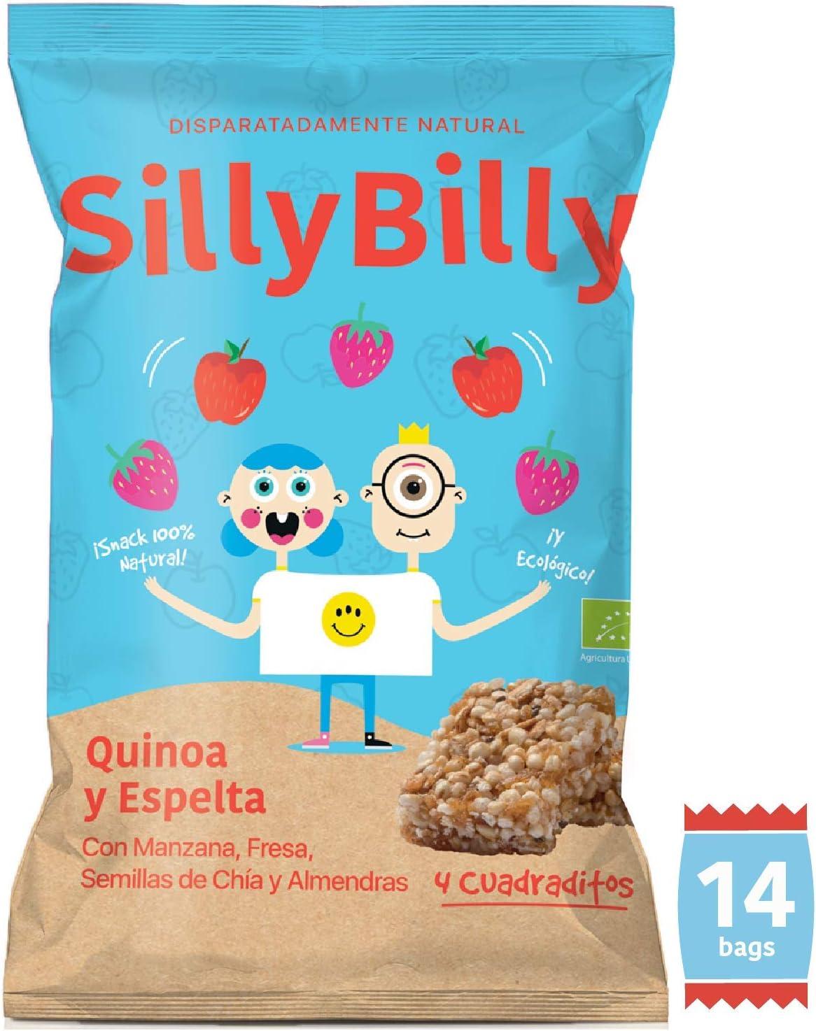 SillyBilly Cuadraditos horneados BIO de Quinoa, Espelta, Manzana, Fresa, Semillas de Chía y Almendras (Pack 14 X 24g): Amazon.es: Alimentación y bebidas