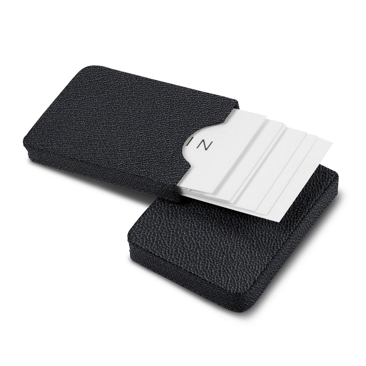Lucrin - Sliding case for business cards - Black - Goat Leather