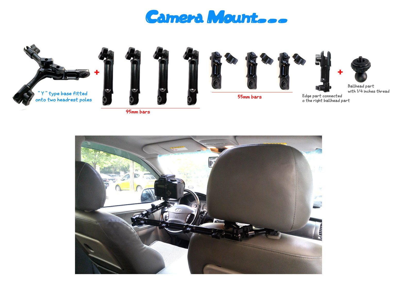 a LONG length type headrest mount bracket for a part for camera, camcorder and action cam with all metal sturdy frame(Y frame and 95mm+55mm bars) and 1/4 inches thread as a cam connecting part