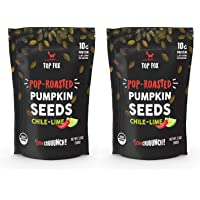 Top Fox USA Farm-Grown Organic Pumpkin Seeds. Healthy Pop-Roasted Protein Snacks. Gluten Free, Keto Friendly, Vegan, Paleo. 3.5 ounce (Chile Lime, 2 pack)