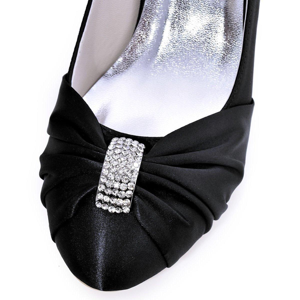 Elegantpark Women s Pumps Satin Rhinestones Closed Toe Mid Heel Wedding  Party Dress Court Shoes  Amazon.co.uk  Shoes   Bags 757fc6cbf048