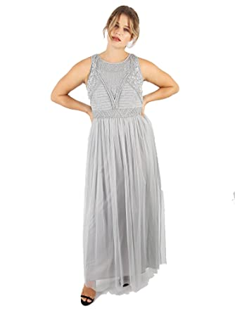 d42220ff9c Lovedrobe Luxe Women s Plus Size Grey Embellished Maxi Dress (20 ...