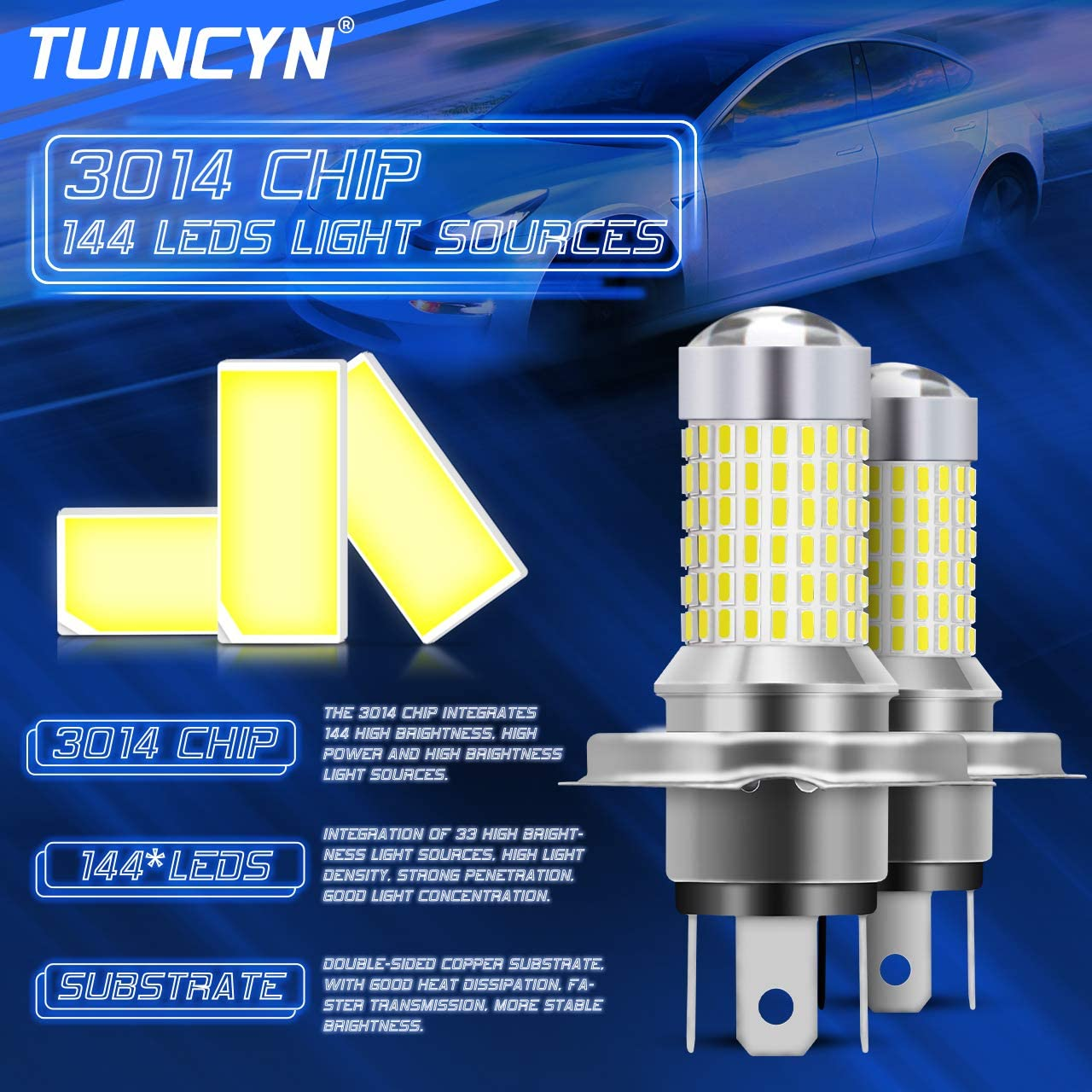 DRL super brillant Lampe de route DC 12V-24V pack de 2 TUINCYN 9006 HB4 Ampoule antibrouillard /à LED blanc x/énon 6000K 3014 jeux de puces 144SMD Feu de jour /à diodes /électroluminescentes