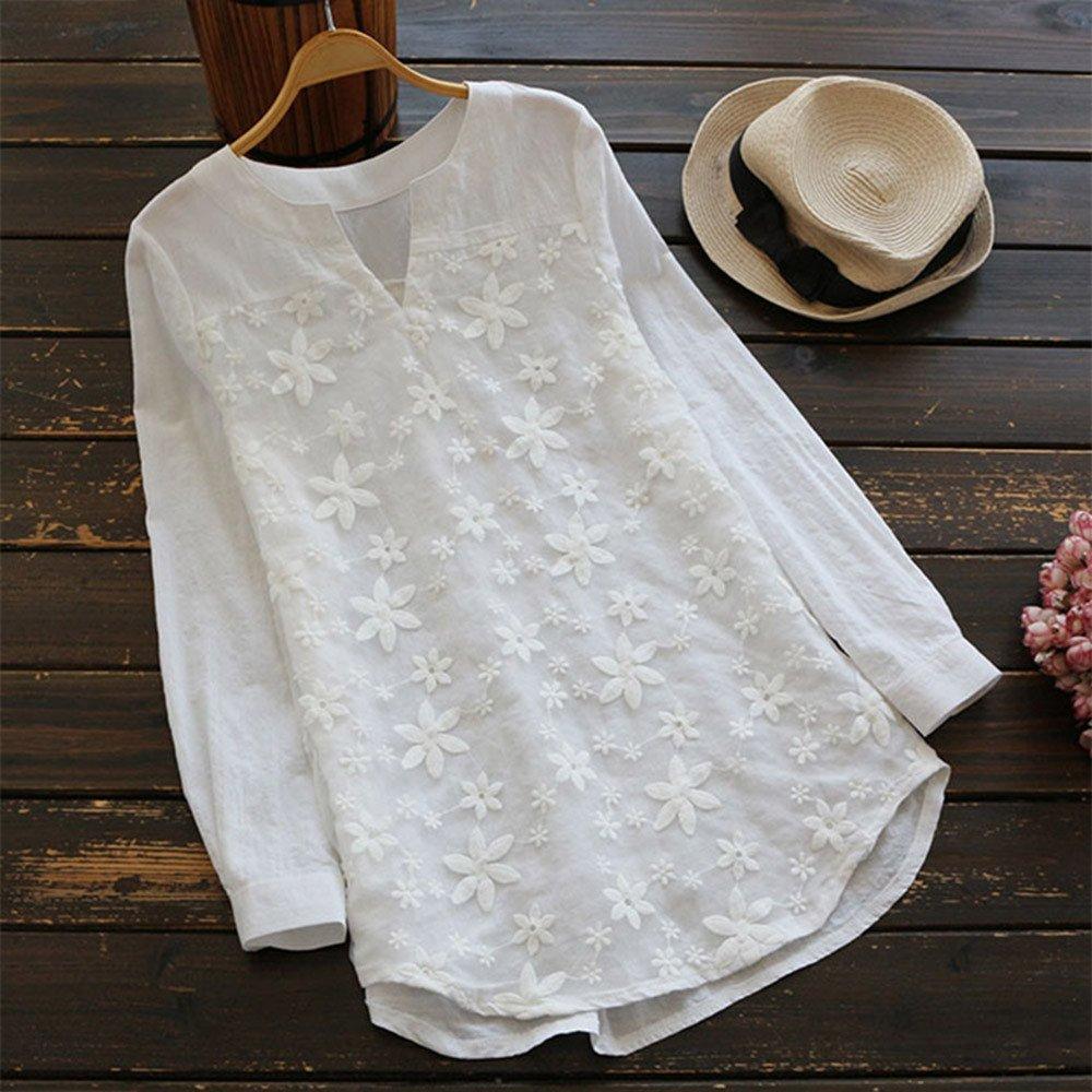 VJGOAL Damen Kleid Damen L/ässige Retro-Baumwolle und Leinen Knopf Lange Tops Bluse Lose Lange /Ärmel Mini Hemd Kleid /…
