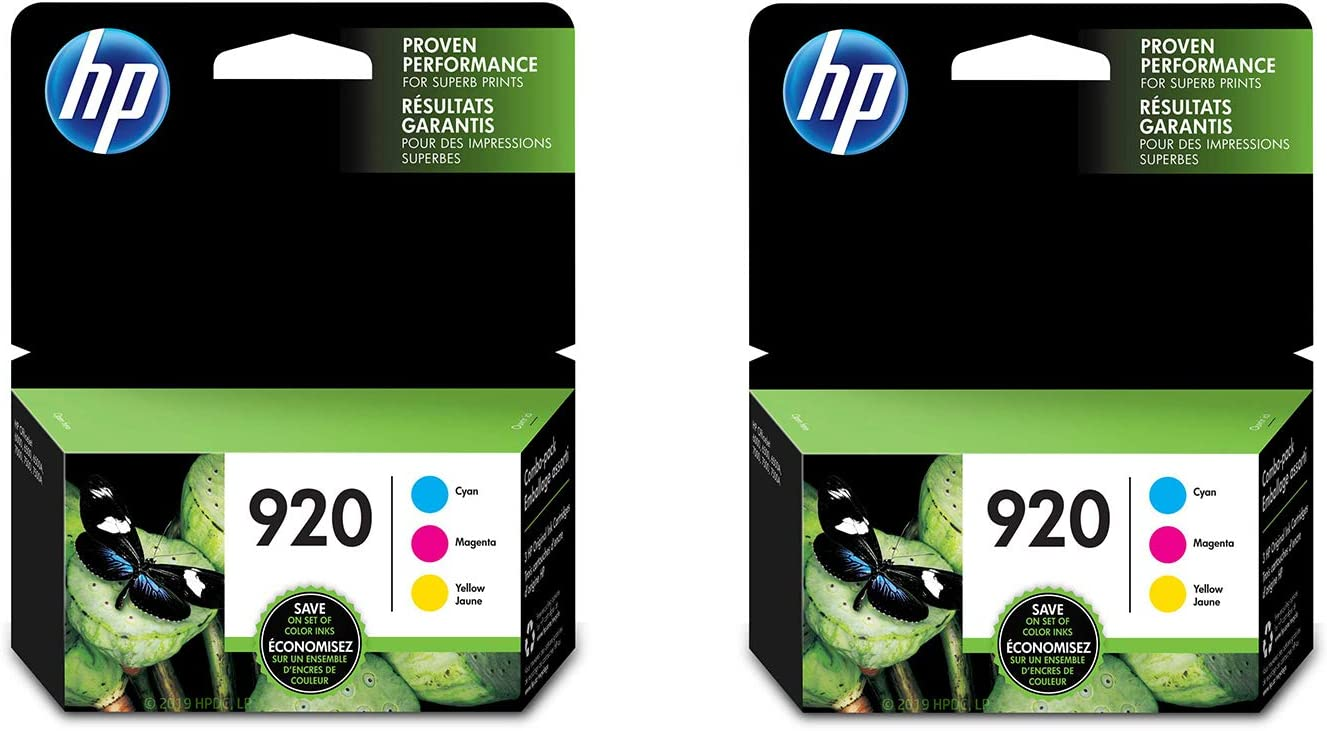 HP 920 | 3 Ink Cartridges | Cyan, Magenta, Yellow | CH634AN, CH635AN, CH636AN - 2 Pack