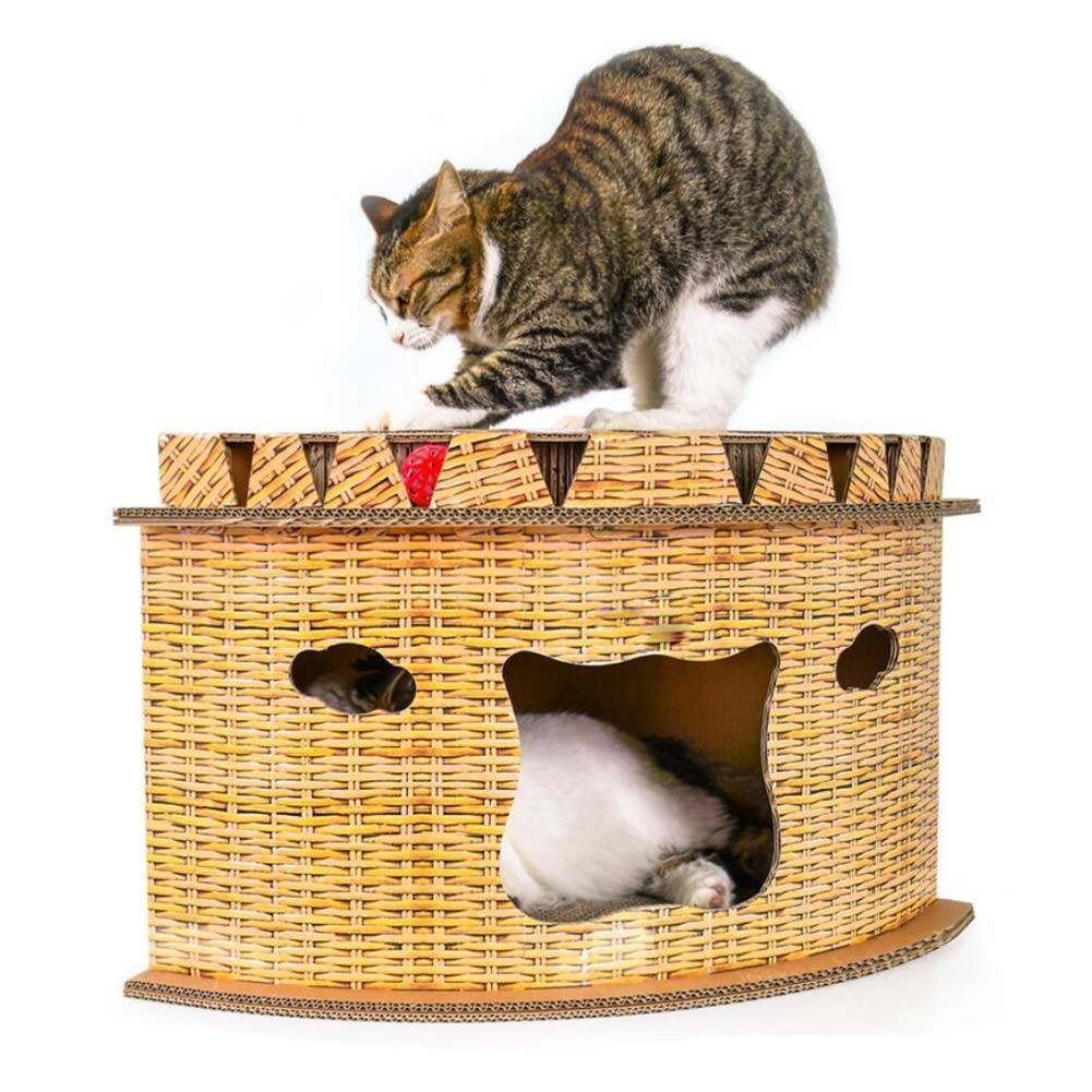 PISSV Cat Scratch Board Cat Nest Fan-shaped Corner Cat House Double Layer Fortress Type Pet Nest Grinding Claw Creative Toy For 2 Pets 636  360mm