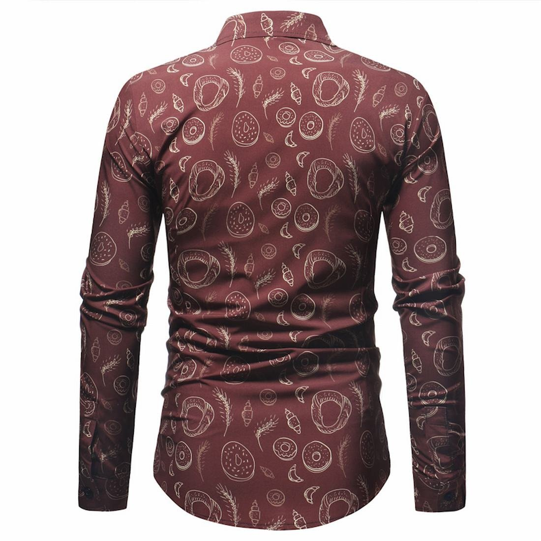 Nanquan Men Classic Long Sleeve Printed Button Down Slim Casual Shirts