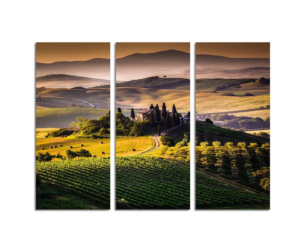 130x90cm – KUNSTDRUCK Toskana Italien Landschaft Anwesen 3teiliges Wandbild auf Leinwand und Keilrahmen - Fotobild Kunstdruck Artprint Paul Sinus Art