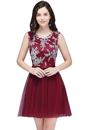 265e9e23302 MisShow Crew Neck Lace Applique Tulle Cocktail Dress Juniors Homecoming  Gowns US2 Burgundy