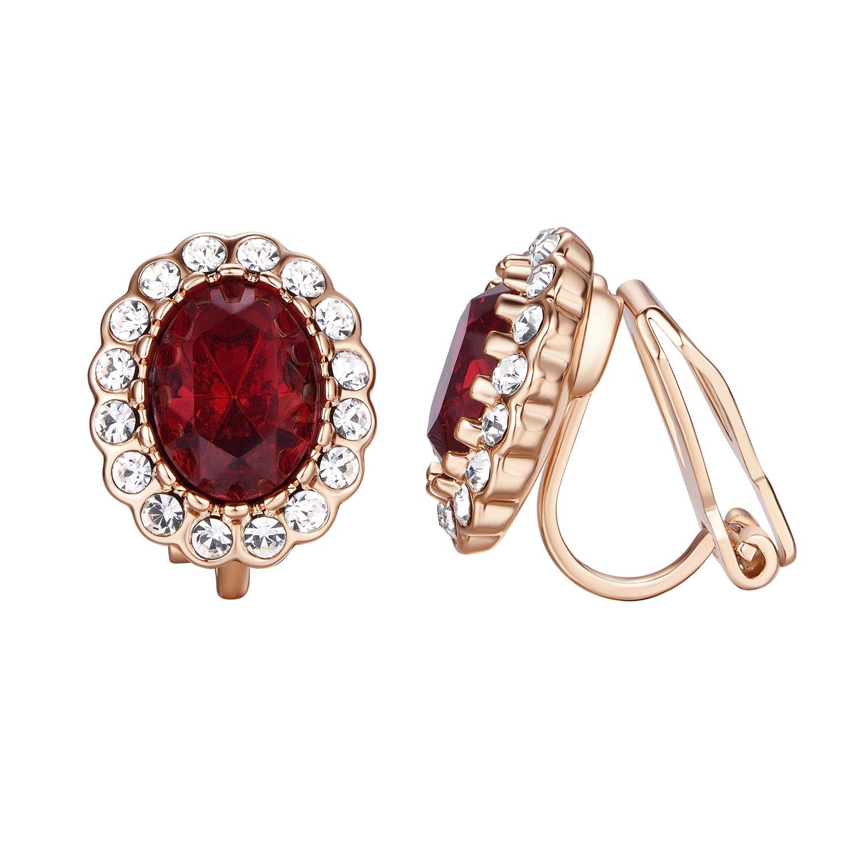 Yoursfs Burgundy Clip on Earrings for Women 18k Rose GP Crystal Clip Earrings
