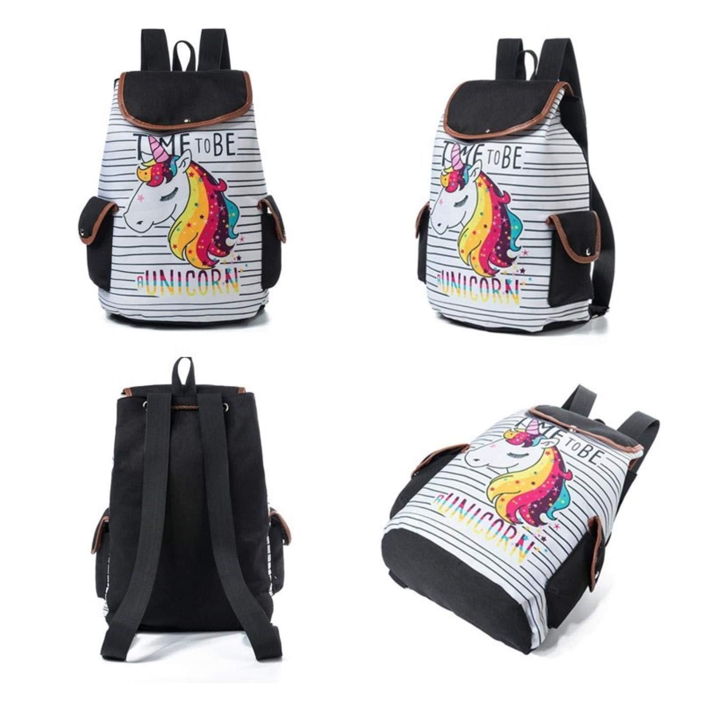 Cartoon Unicorn Print School Backpack Womens Travel Canvas School Bag