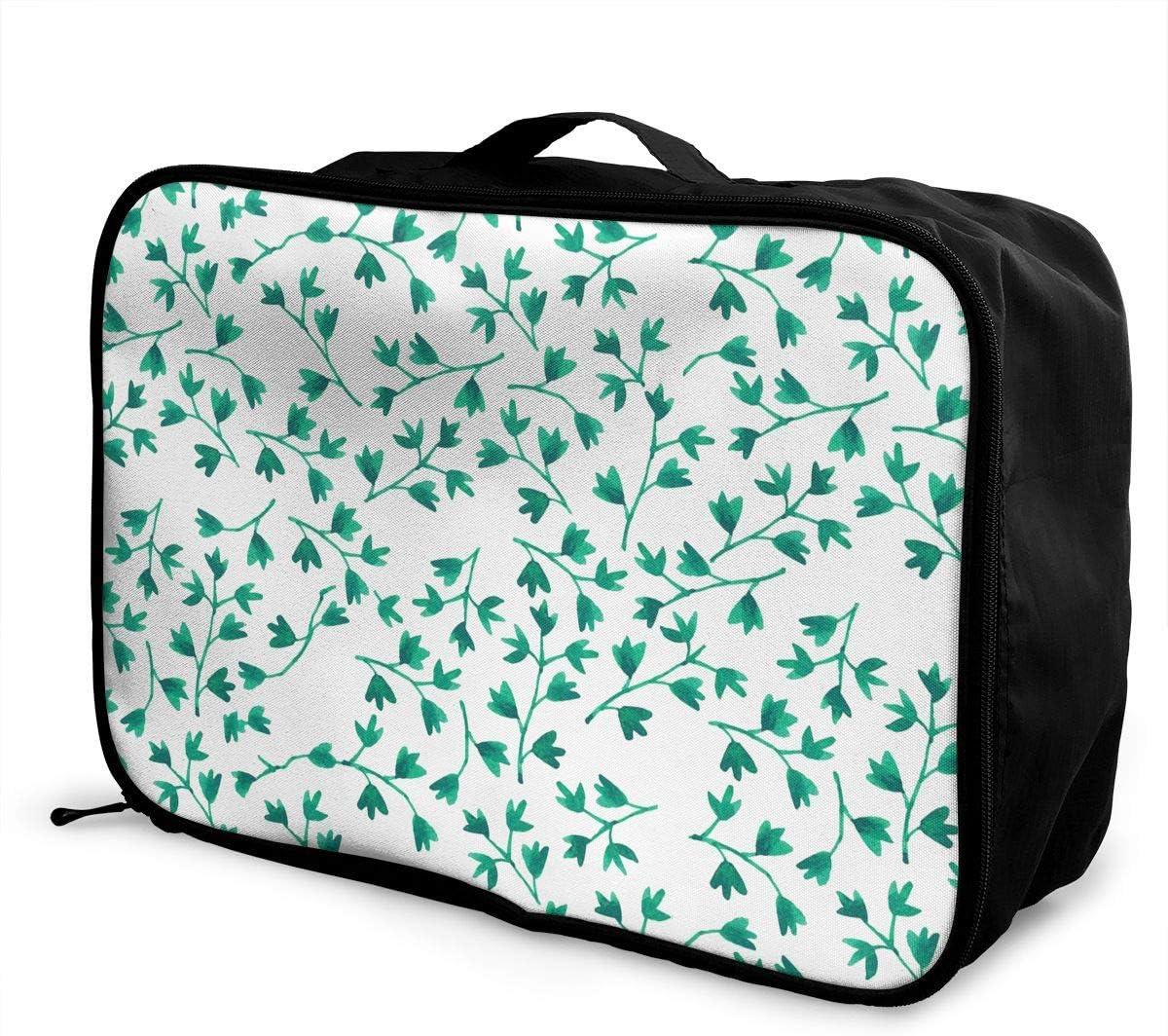 Green Leaf Travel Carry-on Luggage Weekender Bag Overnight Tote Flight Duffel In Trolley Handle