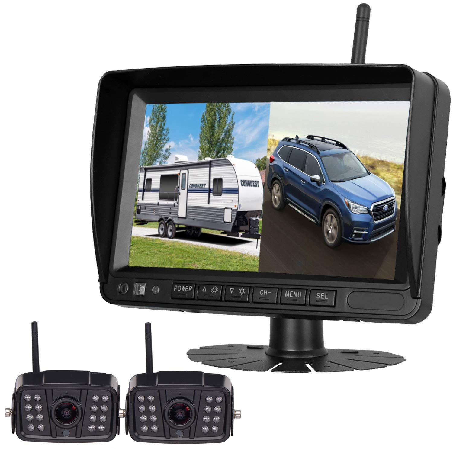 Digital Wireless Dual Backup Camera HD 1080P 2019 Vision 7''DVR Monitor Kit for RVs,Trucks,5th Wheels Support Split/Quard View Screen High-Speed Observation System IP69K Waterproof Driving/Reverse by Dohonesbest