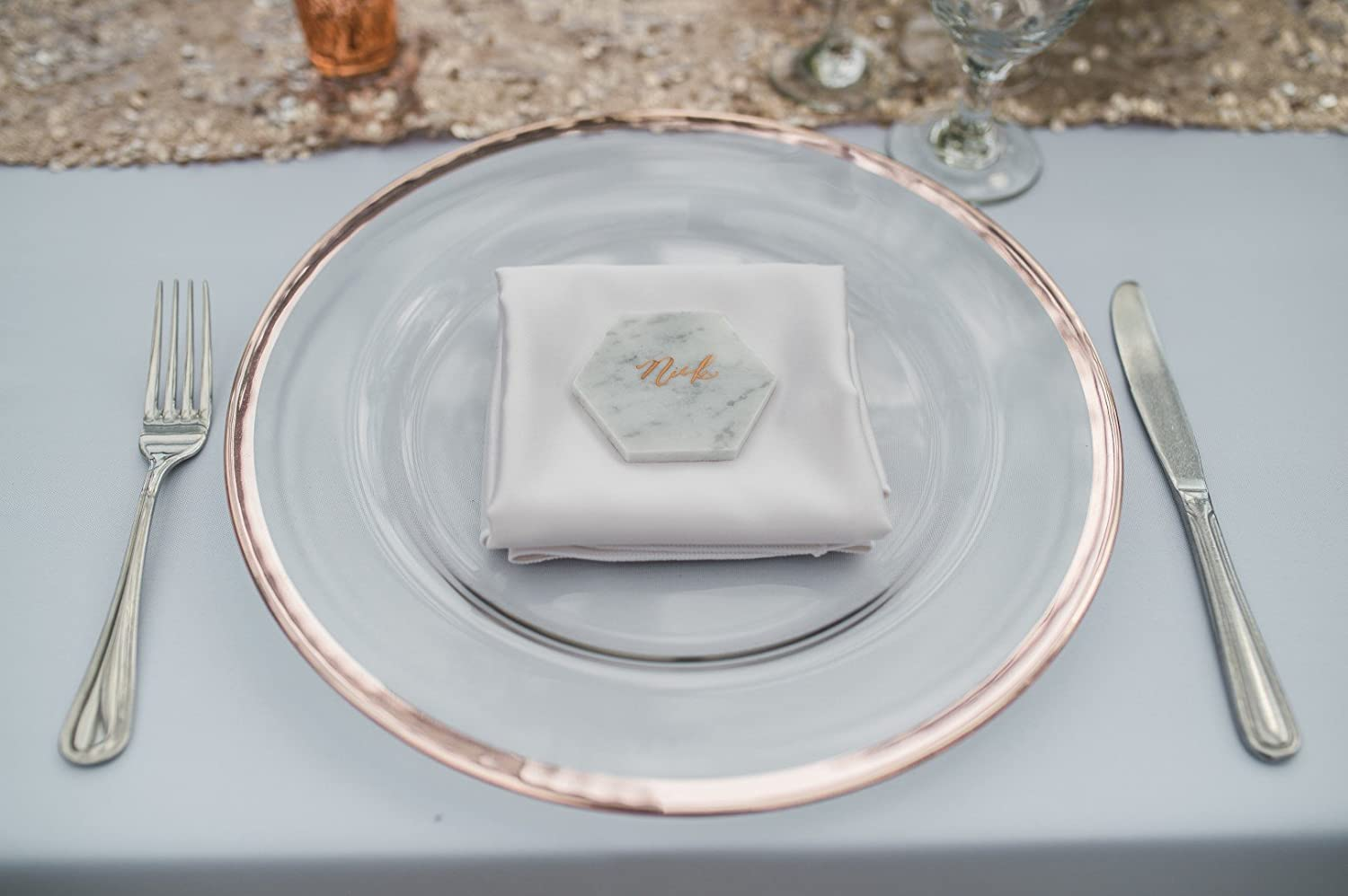 Set of 4 Clear Glass Charger 13 Inch Dinner Plate With Metallic Rim Gold Ms Lovely C120-25-1-gold
