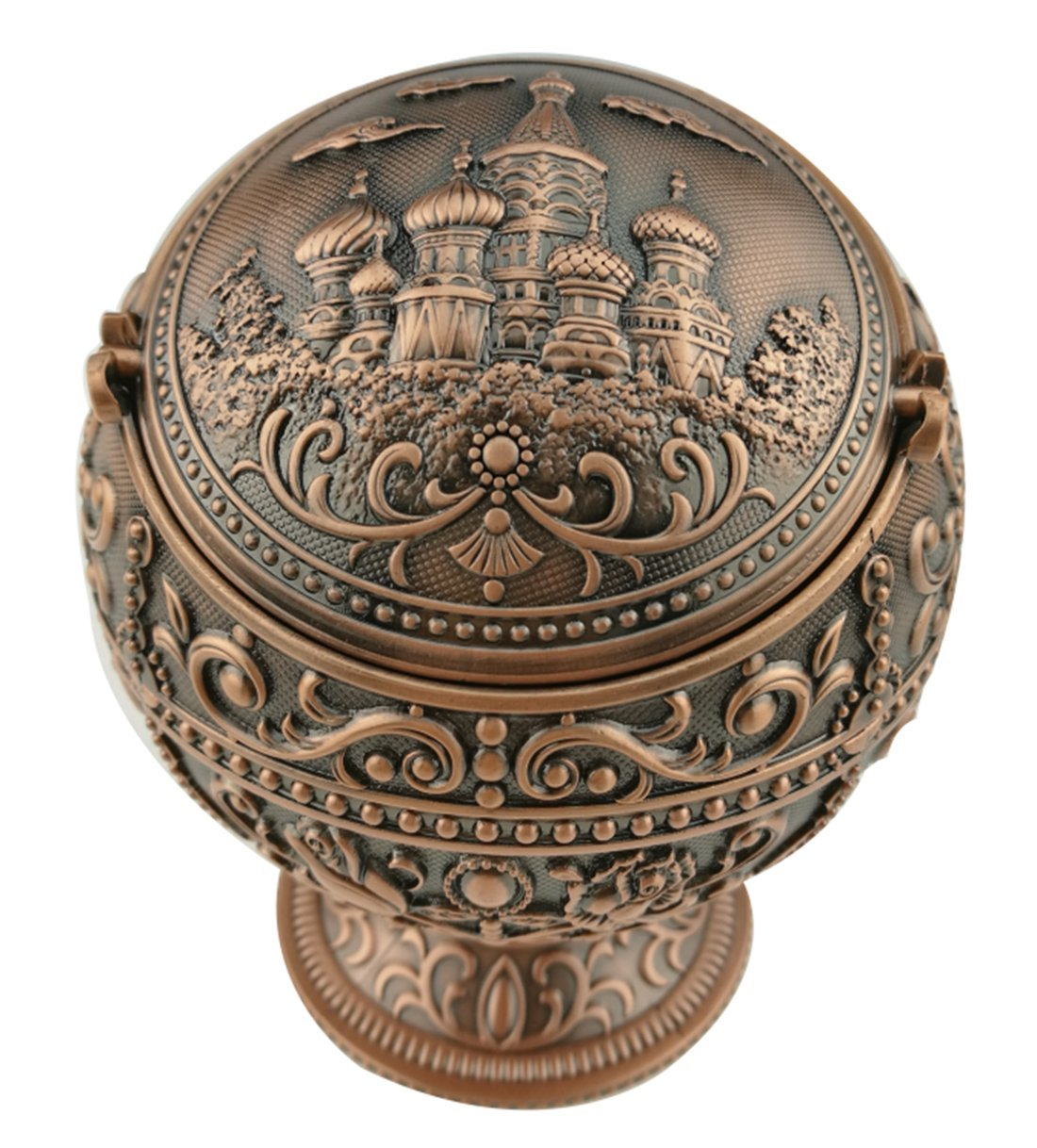 (Copper) - Exquisite Exotic Portable Windproof Smokeless Hand Stamped Pattern Spherical Ashtray With Lids Ash Holder Home Office Decoration Perfect Father's Day Dad Gift Business Gift (Copper) B072WT8RPH  コッパー