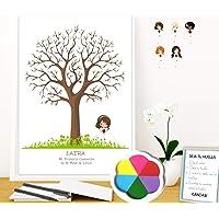 Cuadro de árbol de huellas con niña de comunión. Varios tamaños y colores de marco.Tintas e instrucciones incluidas…