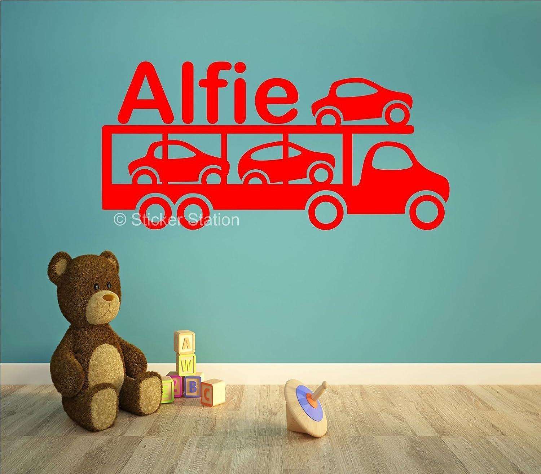 Camion de Transporteur de Voiture Enfants Personnalis/é Pr/énom Art Mural Autocollant