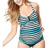 Striped Maternity Tankini Halter Pregnancy Swimsuit Two Piece