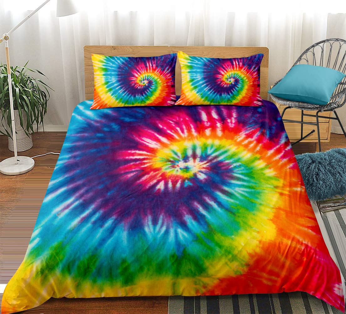 Tie Dye Bedding Rainbow Tie Dyed Duvet Cover Set Orange Blue Pink Psychedelic Art Pattern Boho Hippie Bedding Sets King (104x90) 1 Duvet Cover 2 Pillowcases (King, Colorful)