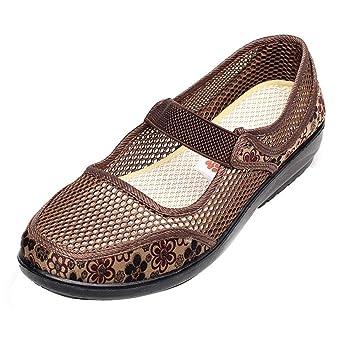 5a9dbaf1 ZHRUI Zapatos de Red para Mujer Tacones Planos Respirable Agujero Malla  Casual Estilo Nacional Zapatos (Color : como se Muestra, tamaño : Un  tamaño): ...