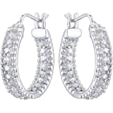 Peora Sparkling Sterling-Silver Hoop Earrings for Women (Silver)