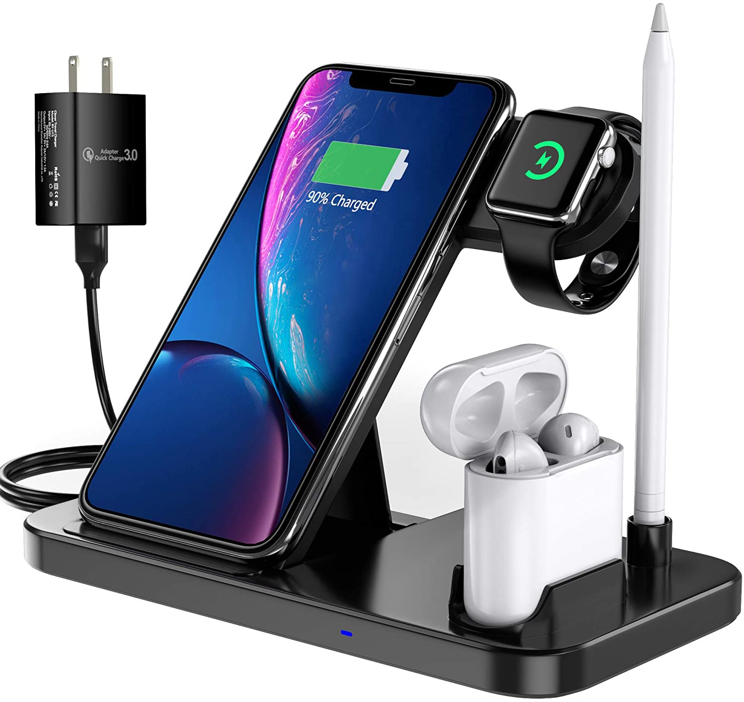 EVIGAL 4 in 1 Wireless Charger, Qi-Certified Fast Charging Station Compatible Apple Watch & AirPods & Apple Pencil, iPhone12/11/11Pro/11Pro Max/X/XS/XS Max/XR/8/8Plus, Samsung (with QC3.0 Adapter)