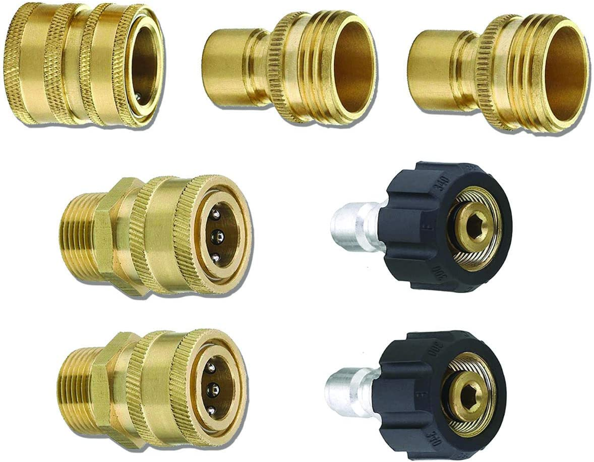 MTM Hydro SRG Pressure Washer Adapter Kit - Quick Disconnect Adapter Set Includes 15mm M22 to 3/8 Inch Quick Connect and 3/4 Inch GH Hose Fittings - 7 Piece Set