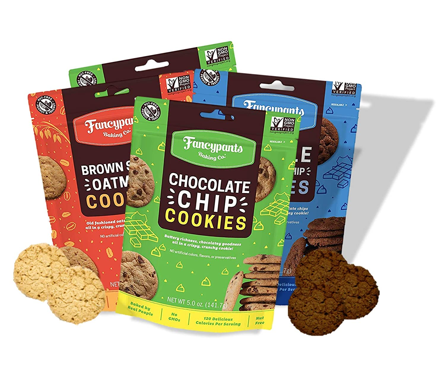 Fancypants Baking Co. Nut Free Cookies | Buttery Delicious & Crunchy Variety (2 Chocolate Chips, 1 Double Dutch Chocolate Chip, 1 Brown Sugar Oatmeal) | Non-GMO Bagged Cookies 4 pack (5oz)