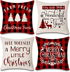 """KACOPOL Christmas Buffalo Plaids Christmas Tree Deer Farmhouse Pillow Covers Cotton Linen Throw Pillow Case Cushion Cover 18"""" X 18"""" Set of 4 Christmas Decorations (Red Plaids Quotes-4 Pack)"""