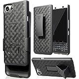 Case with Clip for BlackBerry KEYone, Nakedcellphone Black Kickstand Cover + Belt Hip Holster for BlackBerry KEYone Phone (Ve