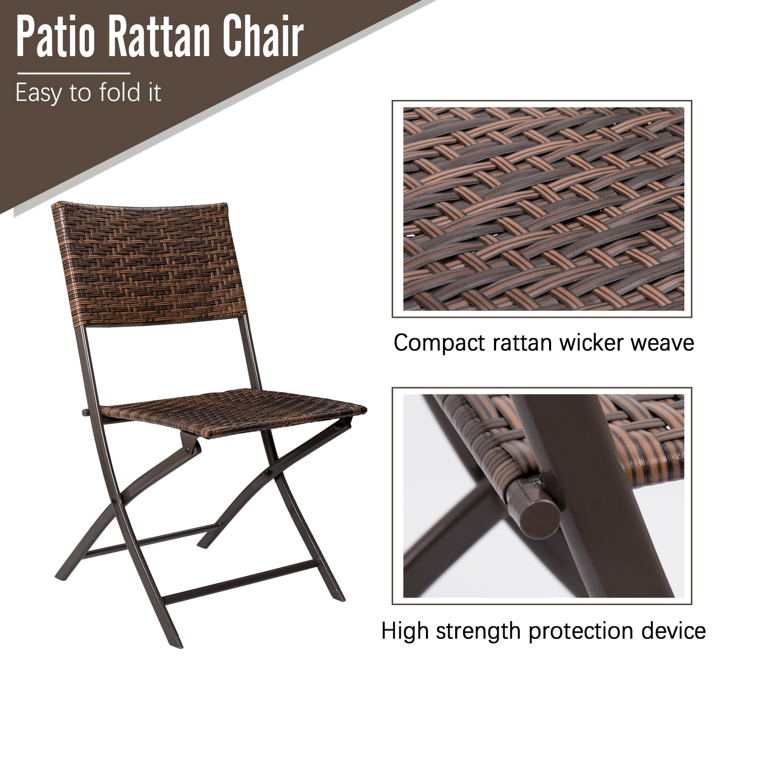 Devoko Rattan Patio Dining Chair 4 Pieces Space Saving Deck Camping Chairs Garden Pool Beach Lawn Using Outdoor Folding Chair (Brown) by Devoko (Image #3)