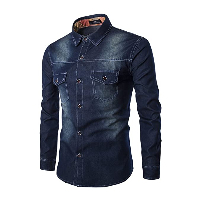Kootk Mezclilla Camisa Hombres Delgado Ajuste Largo Manga Camisa Ocio Camisa Pullover Top Hemd Blusas Camisa