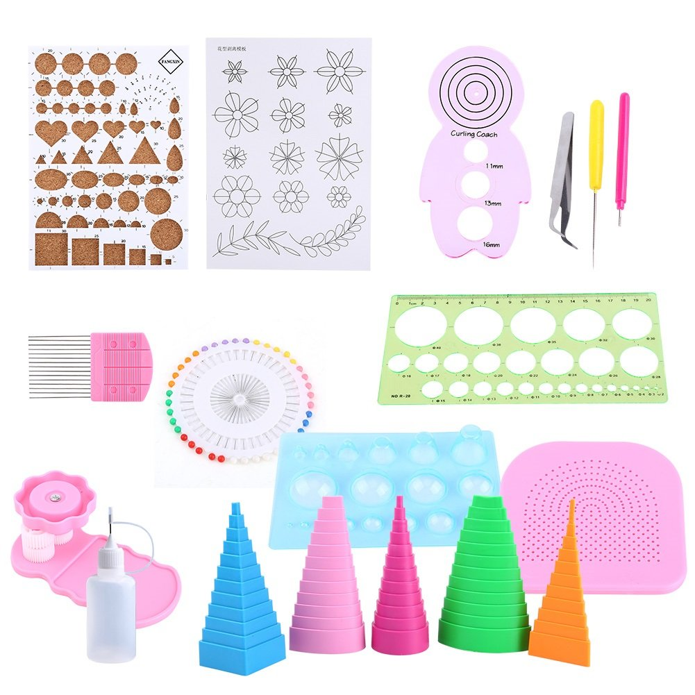 Yosoo Paper Quilling DIY Craft Tool Scrapbooking Paper Multifunctional Board Full Kit Handmade Photo Work Board for Home Office Decoration, 19Pcs