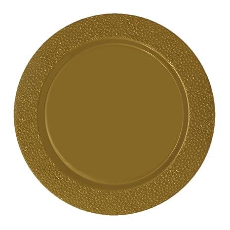 Posh Setting Gold Charger Plates Hammered Design Medium Weight 13 inch Round Plastic  sc 1 st  Amazon.com & Amazon.com | Posh Setting Gold Charger Plates Hammered Design ...