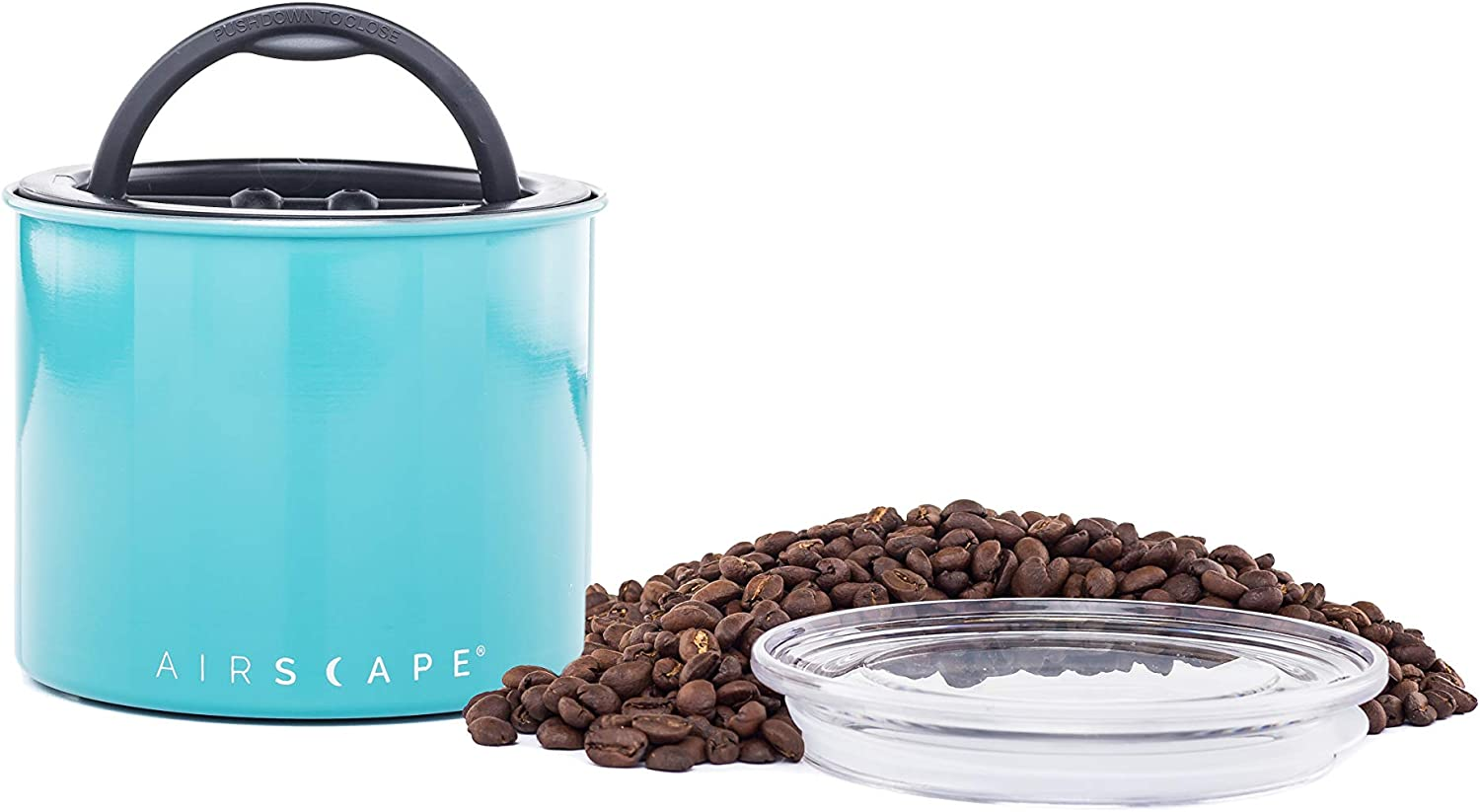 Airscape Coffee and Food Storage Canister - Patented Airtight Lid Preserve Food Freshness Stainless Steel Food Container, Turquoise, Small 4-Inch Can