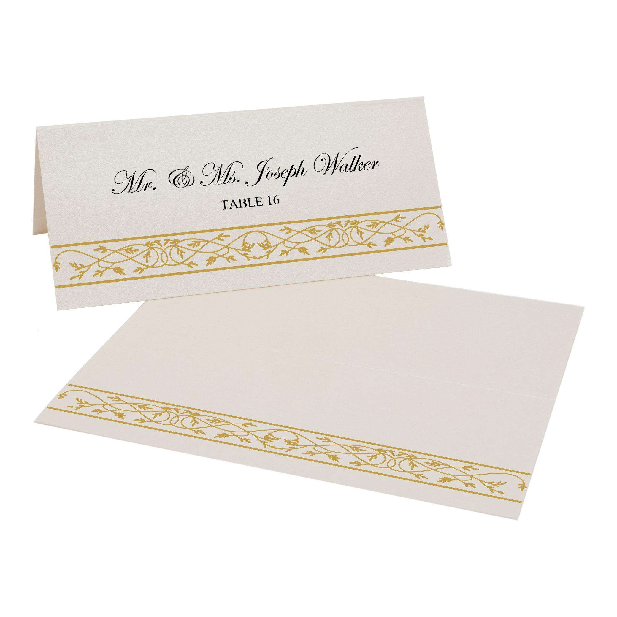 Celtic Leaf Border Easy Print Place Cards, Champagne, Gold, Set of 400 (100 Sheets)