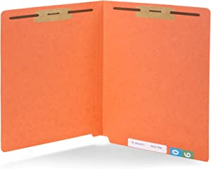 50 Orange End Tab Fastener File Folders - Reinforced Straight Cut Tab - Durable 2 Prongs Designed to Organize Standard Medical Files, Receipts, Office Reports, and More - Letter Size, Orange, 50 Pack