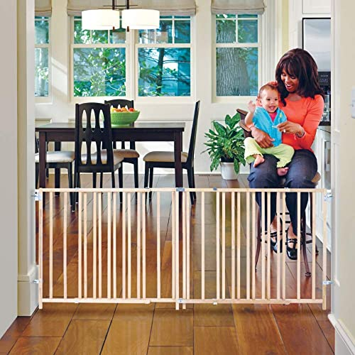 Toddleroo by North States 103 Wide Extra Wide Swing Baby Gate Perfect for Oversized Spaces. No Threshold. One Hand Operation. Hardware Mount. Fits 60 – 103 Wide 27 Tall, Sustainable Hardwood