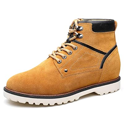 CHAMARIPA Men's Invisible Height Increasing Elevator Shoes-Suede Leather Hiking Boots Yellow 2.76 Inches Taller US 10 | Hiking Boots