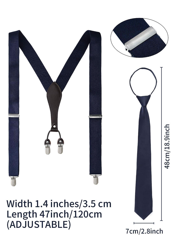 Papillon e Cravatta Uomini Bretelle Set Includono Elastico X Schiena Bretelle Clip Regolabile Solido Dritto Clip Bretelle