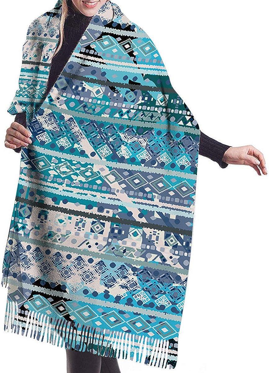 Ethnic Aztec Secret Tribe Pattern Cashmere Feel Scarves with Tassels for Men Women